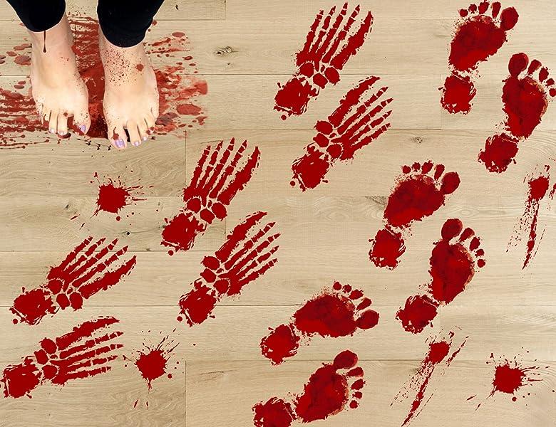 Amazon Com Jollylife 63pcs Bloody Footprints Floor Clings