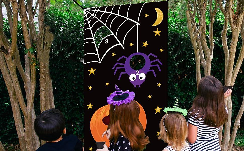 Amazon Com Halloween Bean Bag Toss Games Pumpkin Spider