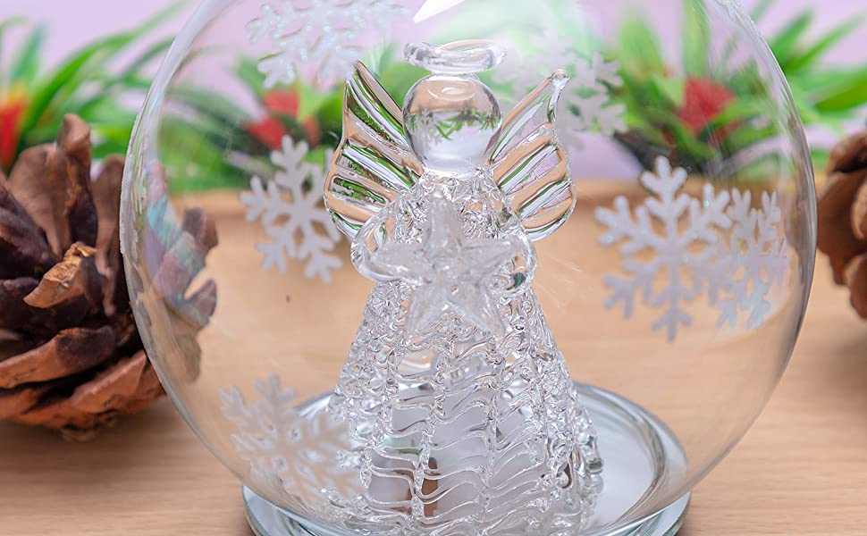 Christmas RN Seahorse LED Ocean Animal Glitter Orange 4 x 2 Acrylic Christmas Snow Globe Dome