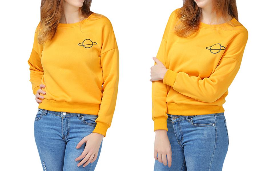 4b49fda041 ZAFUL Women's Oversized Drop Shoulder Long Sleeve Planet Graphic Print  Casual Sweatshirts Pullover