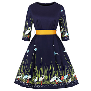 b8c1c9398c ZAFUL Women's 1950s Retro Vintage Floral 3/4 Sleeve Party Cocktail Swing  Dress