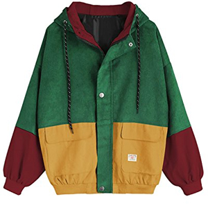 fabfc4524 Amazon.com  ZAFUL Women Teen Hooded Color Block Corduroy Jacket Long ...