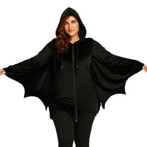 3aaf0817b08 Women Plus Size Halloween Costume Batwing Sleeve Hoodie Sweatshirt Coat With  Drawstring