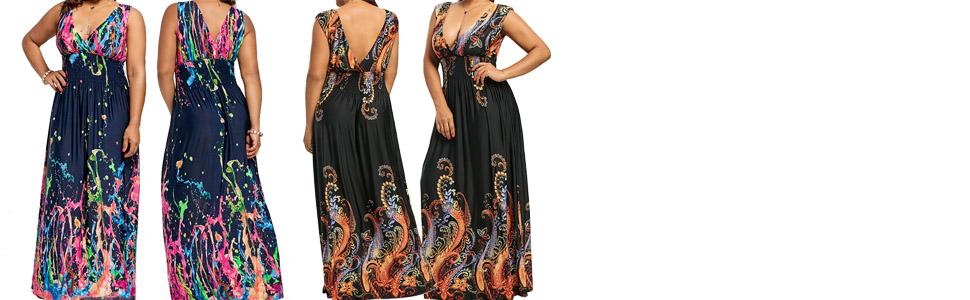 ZAFUL Women Plus Size Floral Print Cold Shoulder Maxi Dress Smocked ... 62a7cfffcf7c