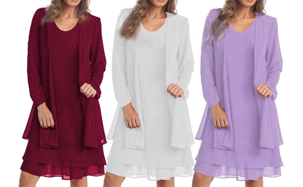 1474de72161 KENANCY Women s Plus-Size Chiffon Jacket Dress Mother of The Bride ...