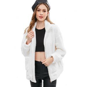 4f41112193 ZAFUL Women Faux Fur Winter Coat Zip Up Fluffy Cardigan Jacket at ...