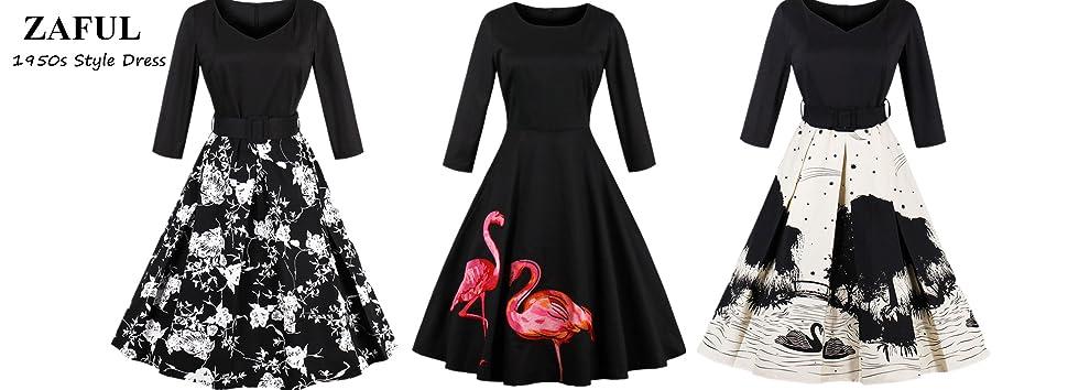 ZAFUL Women\'s 50s Vintage Floral V-Neck Swan Midi Dress 3/4 Sleeve ...