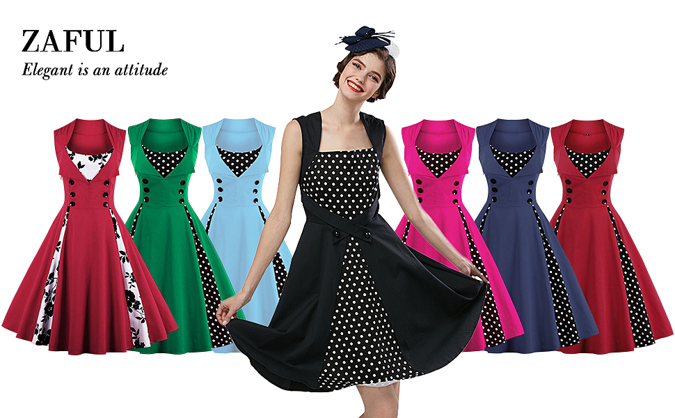 ZAFUL Women\'s Vintage Sleeveless Dress 50s Style Polka Dot Party ...