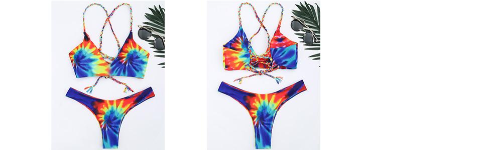 9c277392470b3e Amazon.com: ZAFUL Women Colorful Criss Cross?Tie Dye Braided Bikini ...