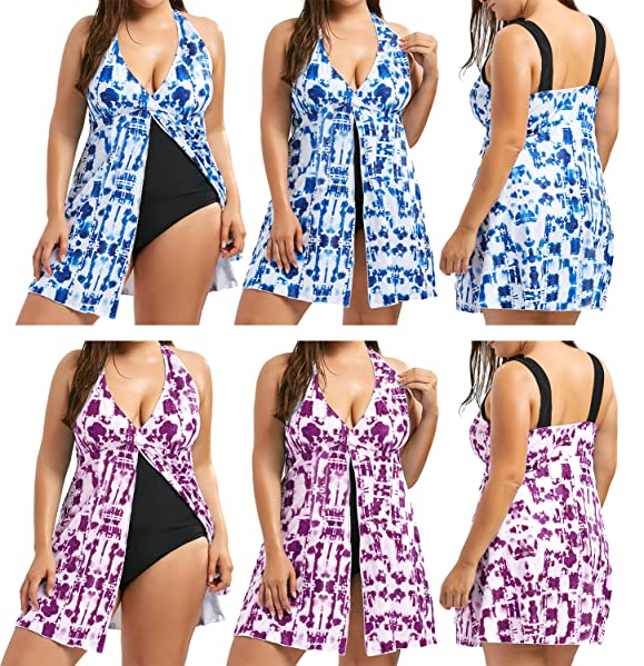 78109fb63c Zaful Women Plus Size Swimsuit Tie Dye Padded Slit One Piece Bathing Suit  Skirted Tankini for Beach or Casual Wear