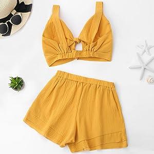 79a0b23737 Amazon.com: ZAFUL Women Bikini Set Cut Out Crop Top with Shorts ...
