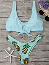 9c9ddab4f3 ZAFUL Women Swimsuit Pineapple Print Bikini Set Tie Knot Front Bathing Suit  Cut out 2 PCS Swimwear