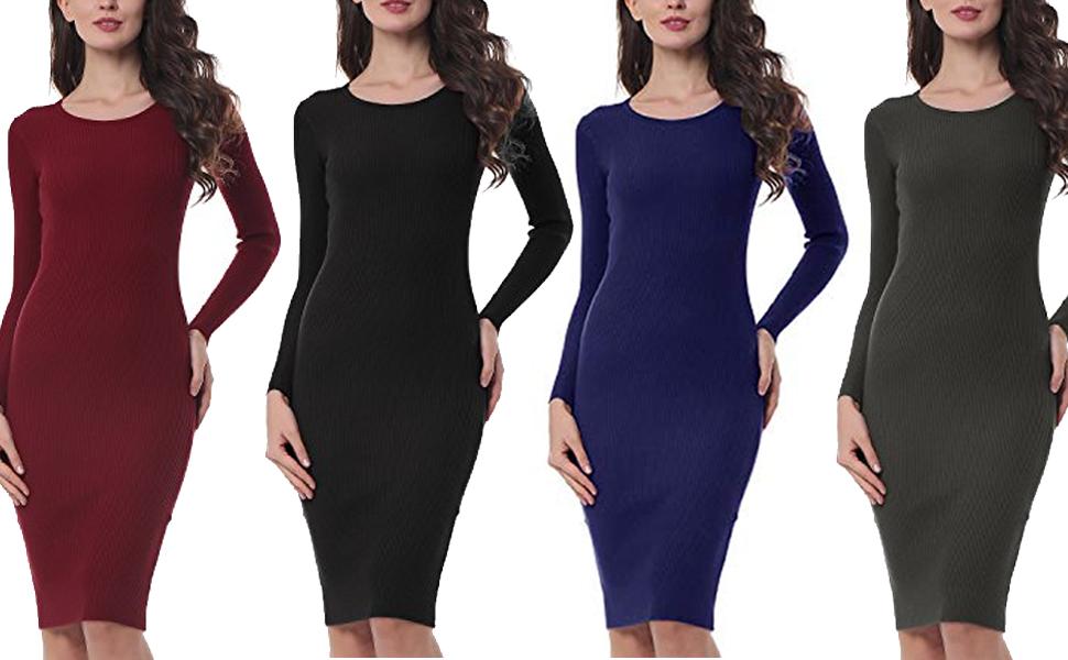 9ef62b81ce KENANCY Women's Long Sleeve Sweater Knit Dress Solid Elastic Slim ...