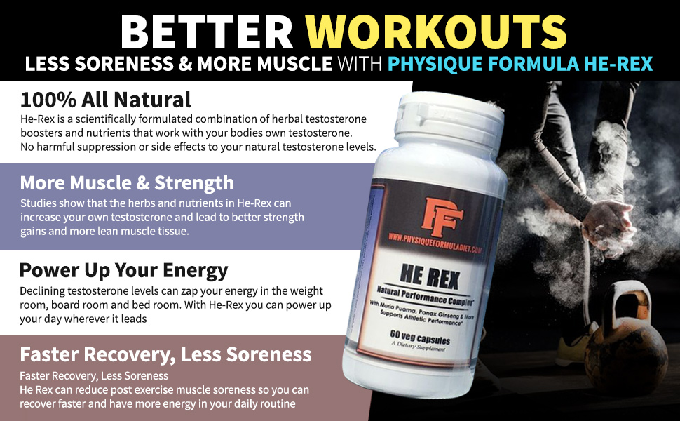 Amazon.com: Physique Formula HE REX: All Natural Herbal Testosterone Boosting Supplement for Men