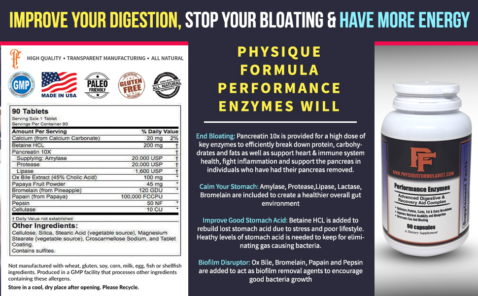 Physique Formula Performance Digestive Enzymes with Betaine HCL Pepsin, Pancreatin 10X Amylase, Protease, Lipase, Ox Bile Extract, Papaya Fruit ...