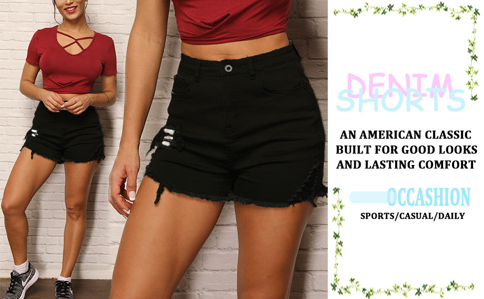NEXLOMOS Womens Juniors High Waisted Ripped Frayed Raw Hem Jean Denim Shorts