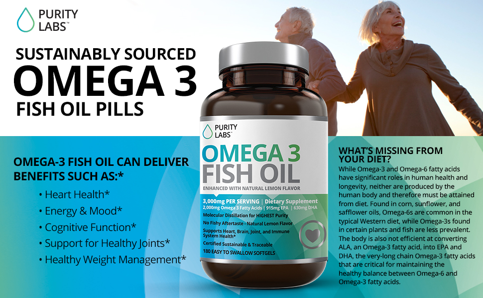 puritylabs omega 3 fish oil supplement with