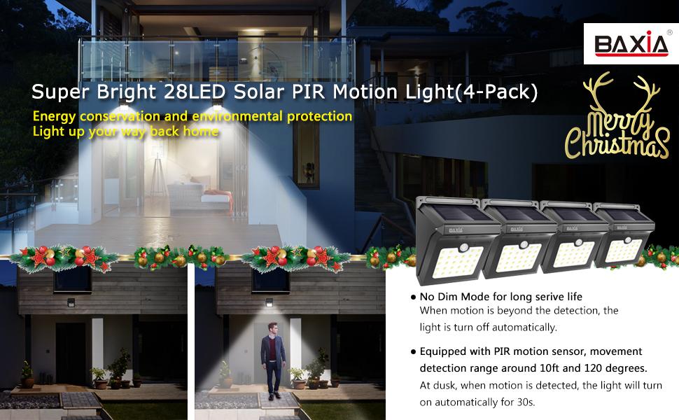 baxia technology outdoor led solar motion sensor lightspack of 4