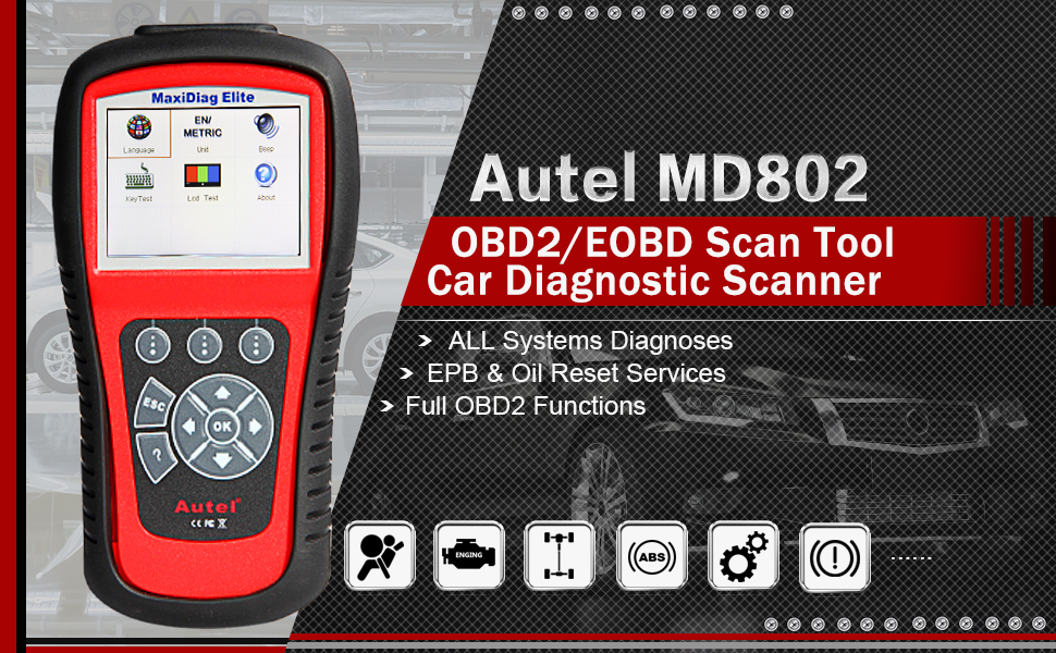 Autel MD802 MaxiDiag Elite OBD2 Scanner Full System Diagnosis with Oil  Reset and EPB, Engine ABS SRS Transmission OBDII Code Reader