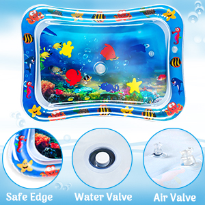 Binory Round Inflatable Animal Water Play Mat for Summer Bath Toys,Great Tummy Time Activity Play Center,Growth Stimulation Funny Way to Learning Marine Life,Baby Birthday Gift 50x50cm//19.6x19.6in