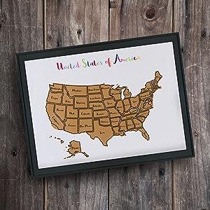 Amazoncom Oversized States US ScratchOff Map Heavyweight - Scratch us map