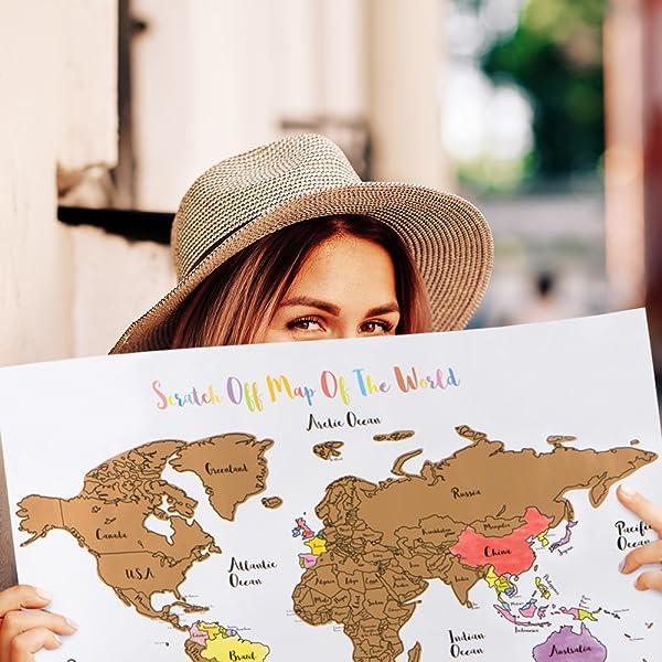 Amazoncom Oversized Scratch Off World Map Large X - Us travel tracking map