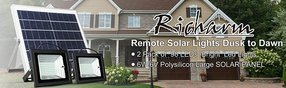 Richarm  Remote Solar Lights 98 LEDs