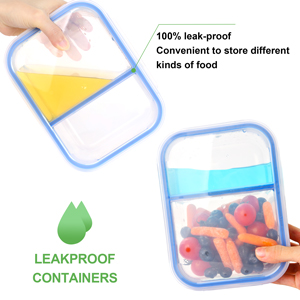 Two Compartments with leak-proof locking lids