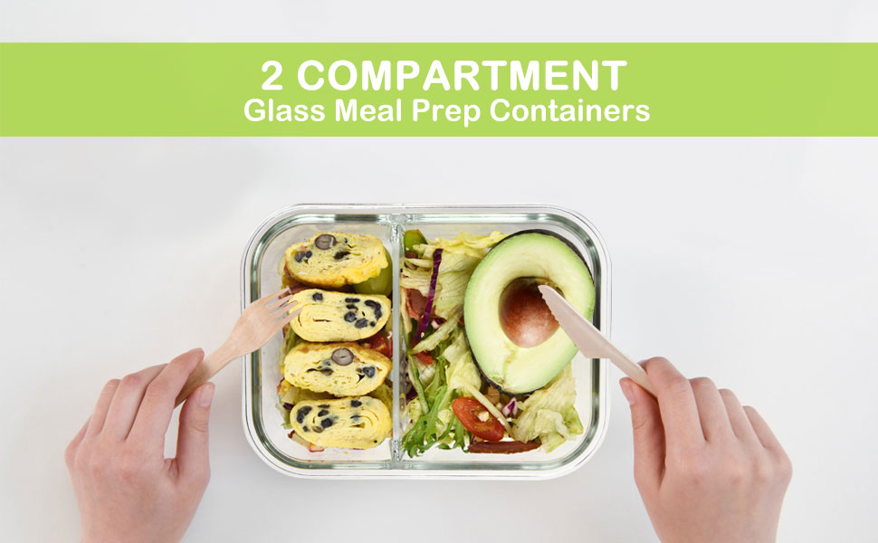 glass meal prep containers 2 compartment