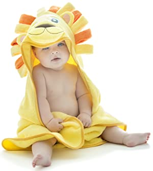 Little Tinkers World Lion Hooded Baby Towel, Natural Cotton