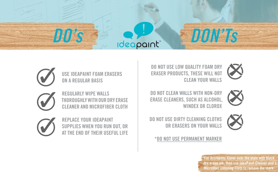 ideapaint whiteboard paint surface table office home use white board maintenance cleaning solution