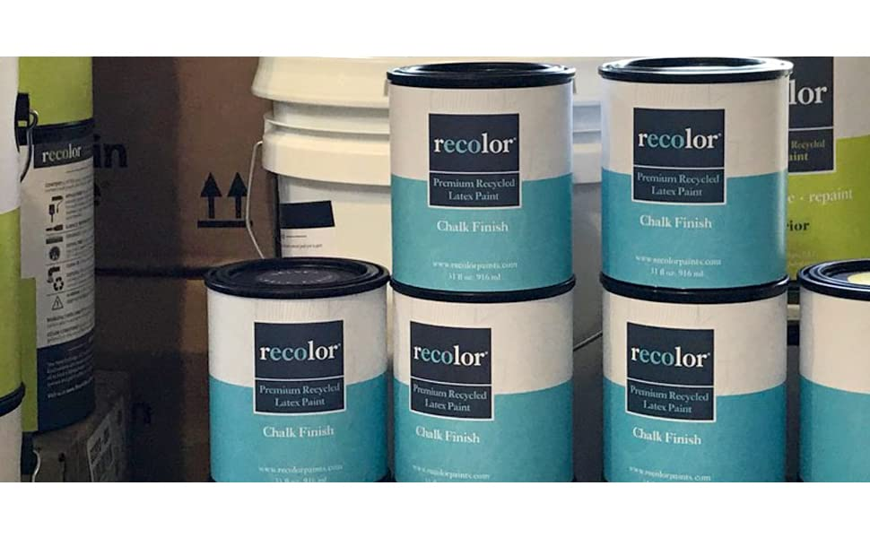 RECOLOR Paint 100% Recycled Interior Latex Paint Wall Finish, 1 Gallon,  Interior - Black (Semi-Gloss)