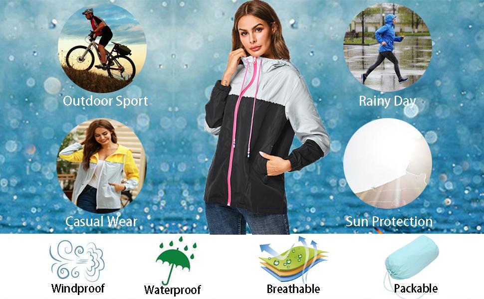 women lightweight rain jacket