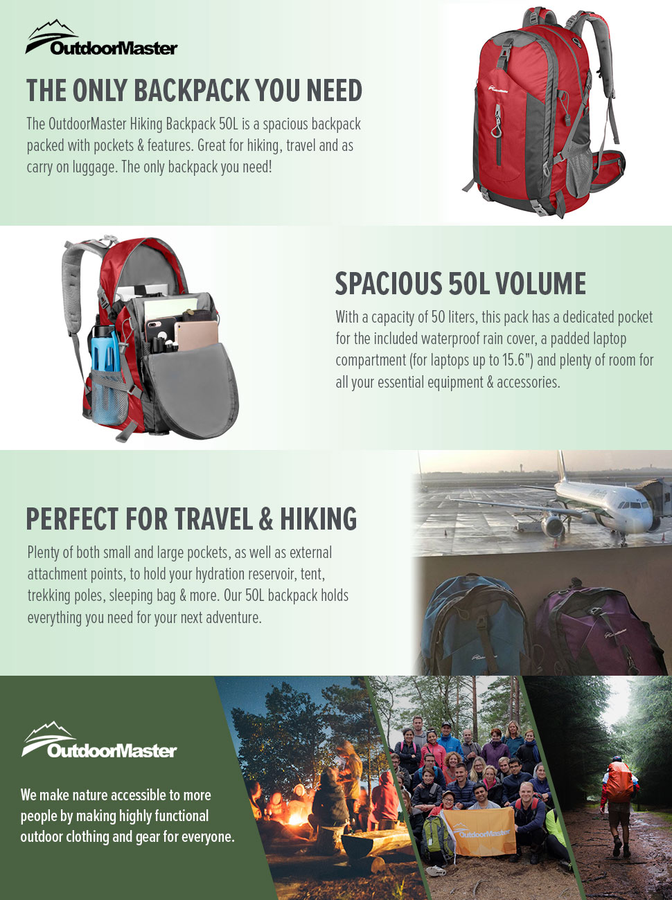 a01609baed0b Amazon.com   OutdoorMaster Hiking Backpack 50L - Hiking   Travel ...