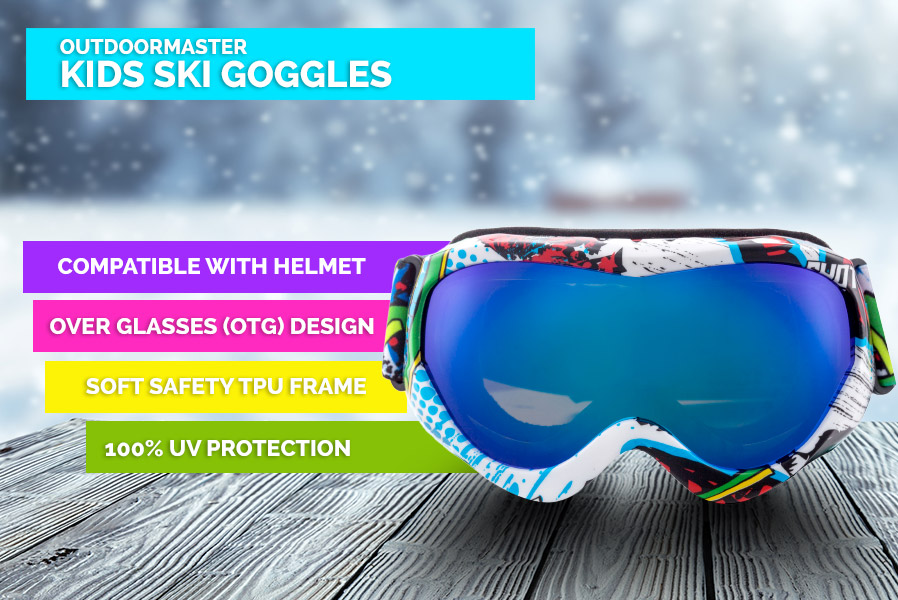 e747375a7c2 OutdoorMaster Kids Ski Goggles - Helmet Compatible Snow Goggles for Boys    Girls with 100% UV Protection