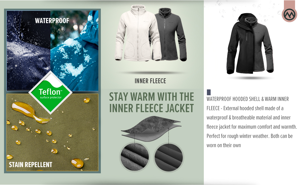 Windproof Warm Snow Coat for Men WonStep Men/'s 3 in 1 Waterproof Ski Jacket with Fleece Liner