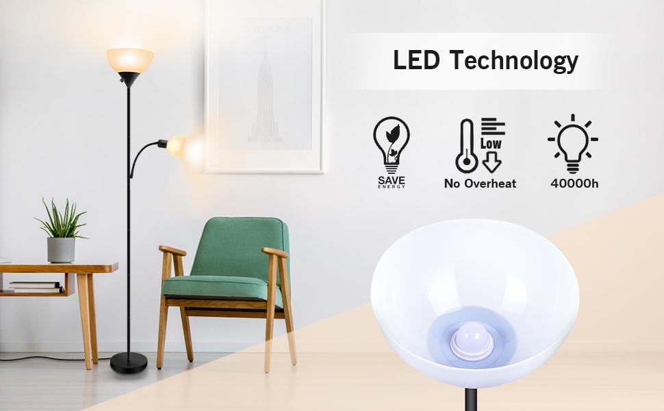 Amazon.com: SUNLLIPE Lámpara de pie de 70.5 pulgadas 9W ...