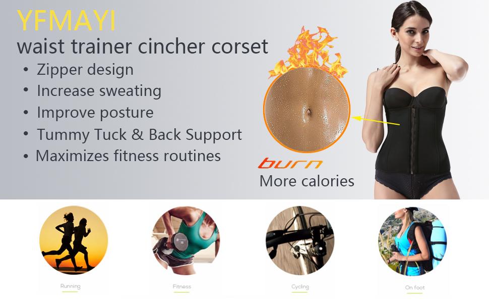 862e14d3fd YFMAYI Neoprene Workout Top Shirt Waist Trainer Corset Trimmer Belt Body  Shaper Cincher Zipper Slimming
