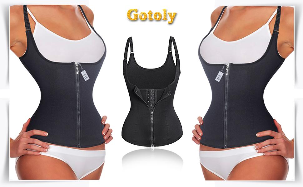 bbcaf14a15 Gotoly Women Waist Cincher Corset Steel Boned Zipper with 3 Row Hook Sport  Workout Control Slimming