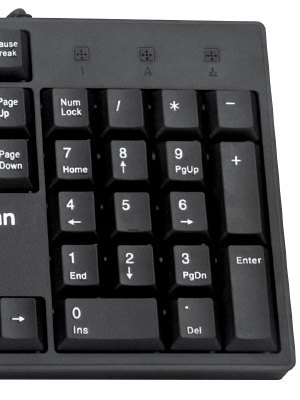 7-key section standard computer keyboard