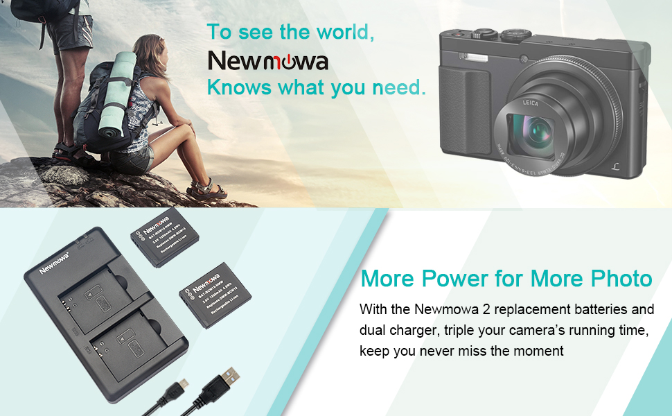Newmowa DMW-BCM13 Battery (2 Pack) and Dual USB Charger Kit for Panasonic DMW-BCM13,DMW-BCM13E,DMW-BCM13PP and Panasonic Lumix ...
