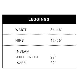Plus size leggings chart