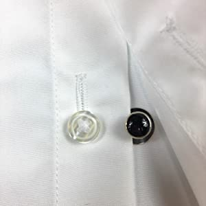 black stud and shirt button hole