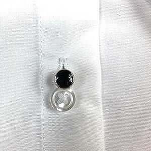 tuxedo stud in a tuxedo shirt