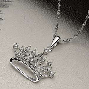 Sterling Silver Crown Necklace w CZ Princess Necklace Chain 925 Silver Royal Crown Necklace Circle Crown with Flat Cable Chain Necklace