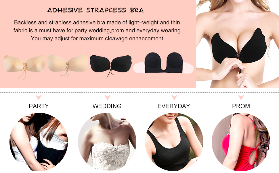 600b17ad92ef4 Mannice Self Adhesive Bra Strapless Reusable Silicone Invisible ...