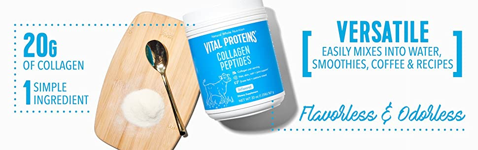 Hydrolyzed Collagen Powder - Vital Proteins Collagen Peptides Grass-Fed and  Pasture Raised,