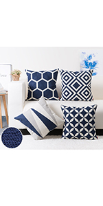 Embroidery Geometric Design Pattern Cushion Covers Navy Blue