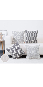 Embroidery Grey Cushion Cover