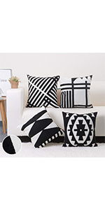 embroidered throw pillow Black and White